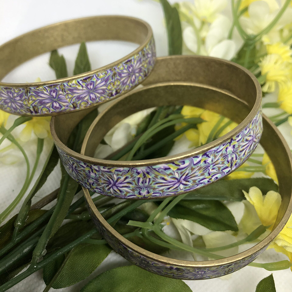 Polymer Clay Floral Bangle Set – $54