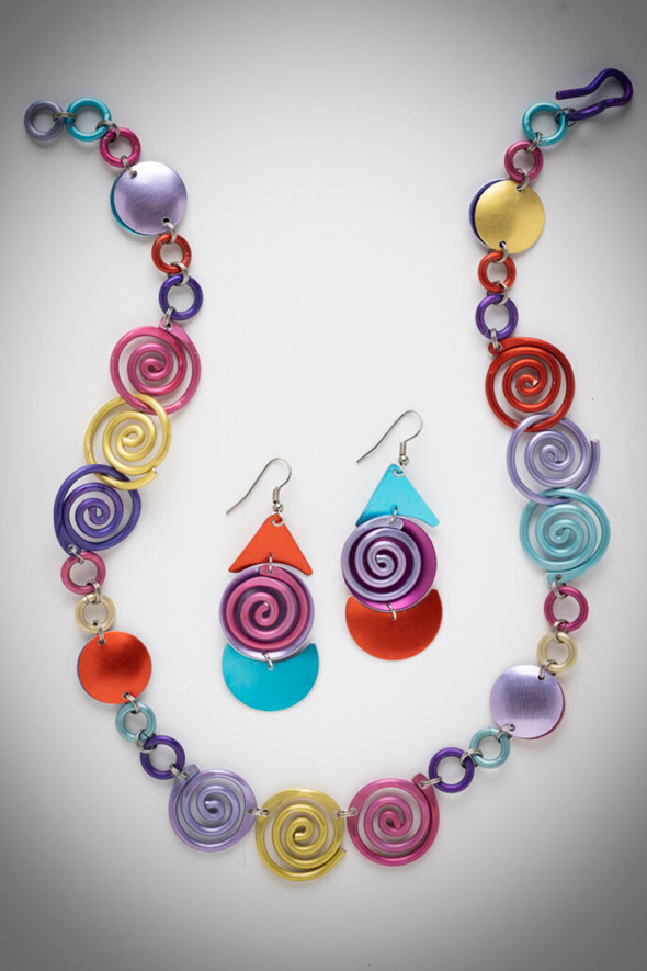 Spring Spirals Necklace – $95, Earrings – $47