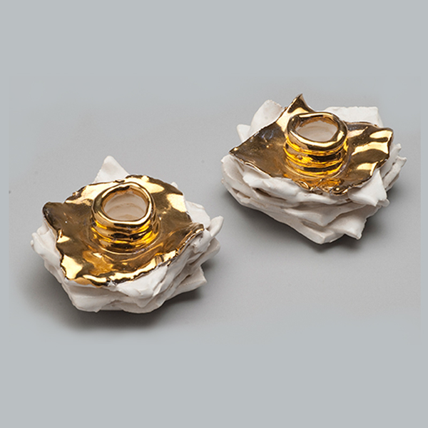 Ivory Candle Holders, Gold Luster Capped – $250