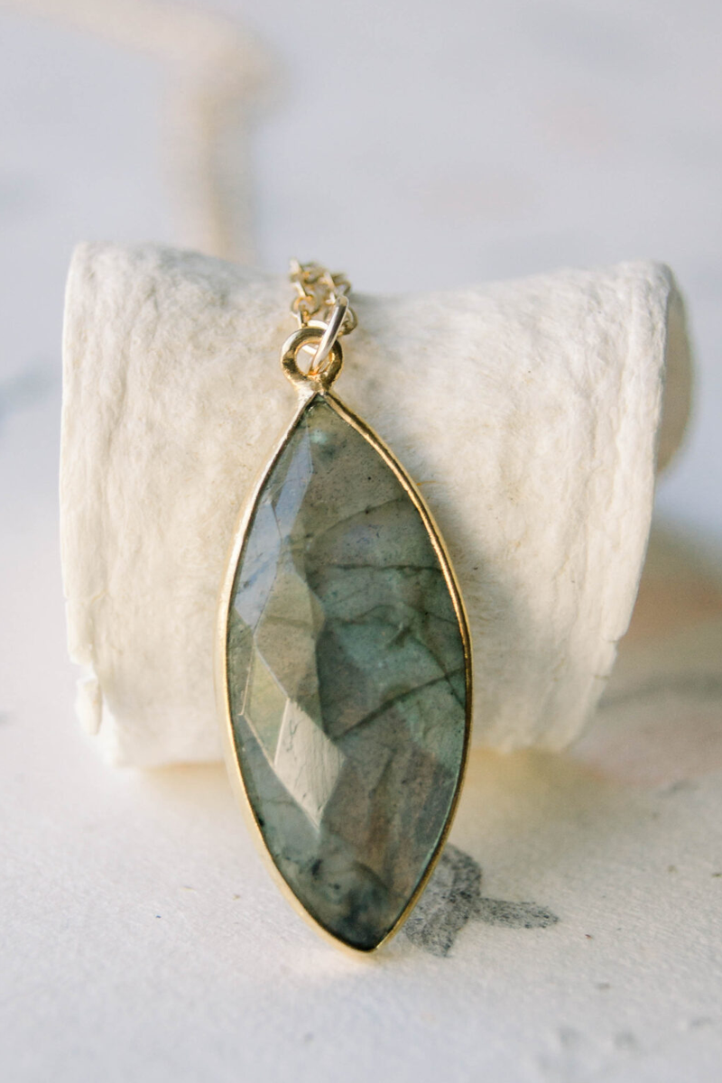 Marquise Labradorite Necklace – $30