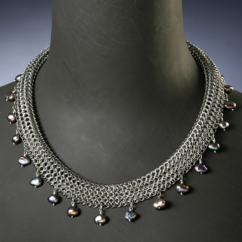Rolled Grey Pearl Necklace – $225