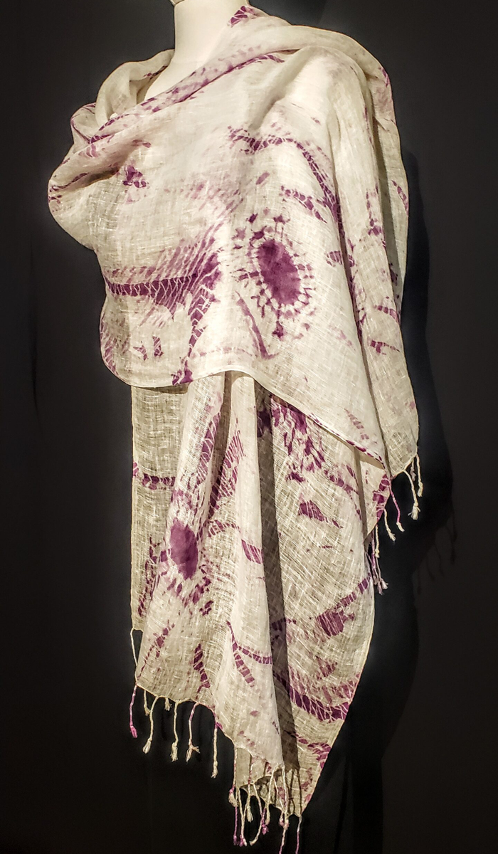 Purple Shibori Fringed Linen Shawl – $140
