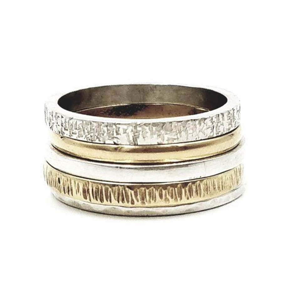 Textured 14k & Sterling Silver Stack Rings $500