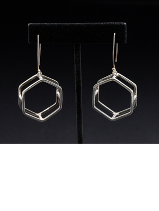 Hexagon Earring (available in oval & square) – $64